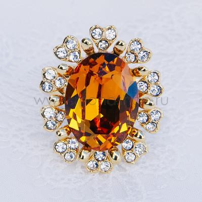 Кольцо Солнце с желтым кристаллом Сваровски