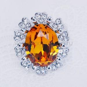 Кольцо «Солнце» с желтым кристаллом Сваровски, покрытие-родий