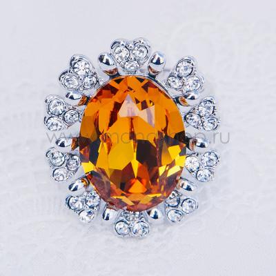 Кольцо Солнце с желтым кристаллом Сваровски, покрытие-родий