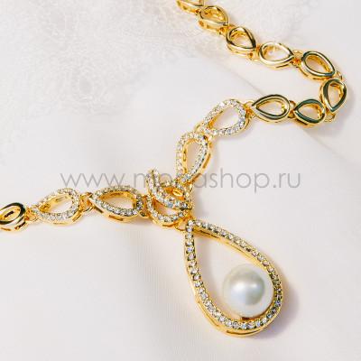 Колье Невесомость с жемчугом и кристаллами, покрытие-золото