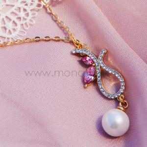 Колье Золушка с жемчугом и розовыми кристаллами Swarovski