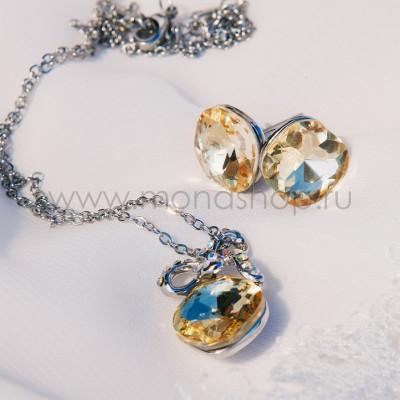 Комплект «Луч солнца» с желтыми камнями Сваровски