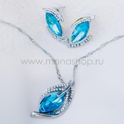 Комплект Перо Жар-птицы с голубыми камнями Swarovski