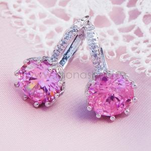 Серьги Аврора с розовым цирконием