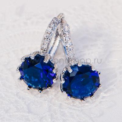 Серьги «Аврора» с темно-синим цирконием