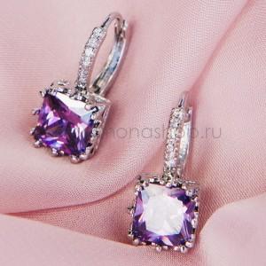 Серьги «Бэлла» с фиолетовым цирконием