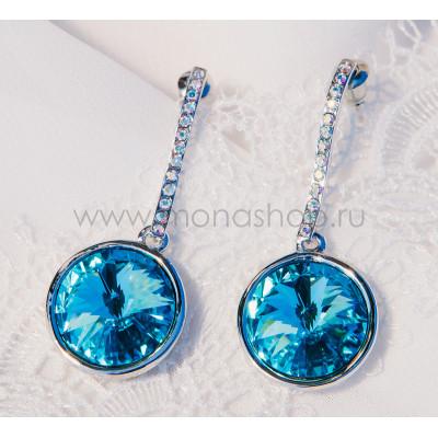 Серьги «Чародейка» на подвеске с голубыми кристаллами Сваровски