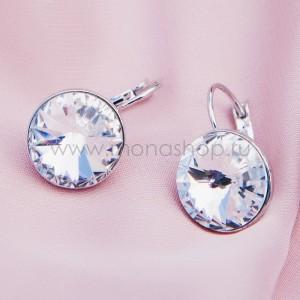 Серьги «Чародейка» с белыми кристаллами Сваровски, покрытие - родий