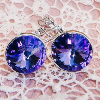 Серьги «Чародейка» с фиолетовыми кристаллами Сваровски
