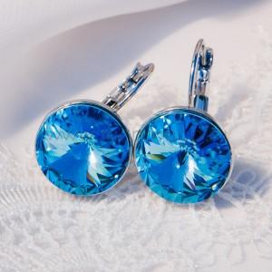 Серьги «Чародейка» с голубыми кристаллами Сваровски, покрытие - родий