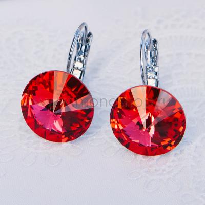 Серьги «Чародейка» с красными кристаллами Сваровски, покрытие - родий