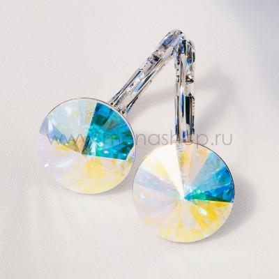 Серьги «Чародейка» с кристаллами-хамелеонами Сваровски, покрытие - родий