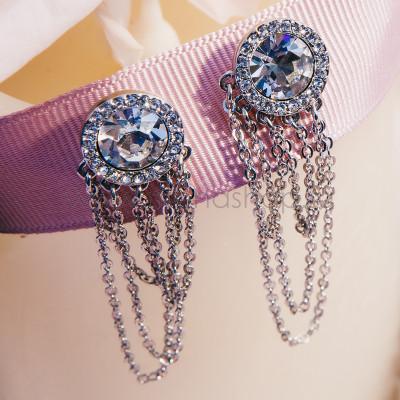 Серьги «Качели» с цепочками-подвесками и кристаллом Сваровски