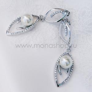 Серьги Ландыши с жемчугом и кристаллами Сваровски, покрытие-родий