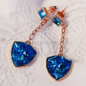 Серьги Морские якоря с голубыми камнями Swarovski