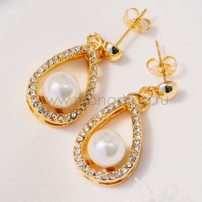Серьги «Невесомость» с жемчугом на хрустальной подвеске, покрытие-золото