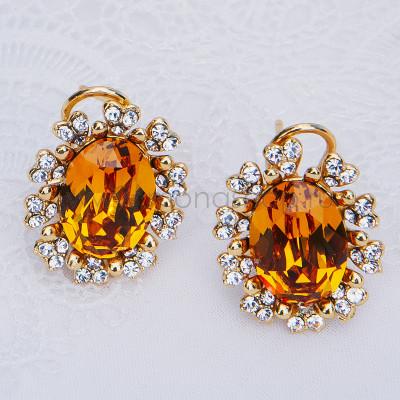 Серьги «Солнце» с желтыми кристаллами Сваровски