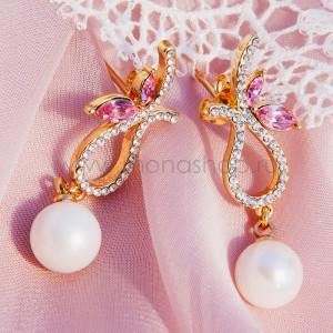 Серьги Золушка с жемчугом и розовыми кристаллами Swarovski
