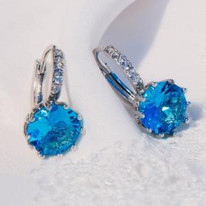 Серьги Аврора с голубым цирконием