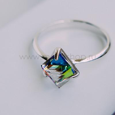 Кольцо Миражи тонкое с зеленым кристаллом Swarovski