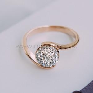 Кольцо «Стелла» с белыми кристаллами Сваровски