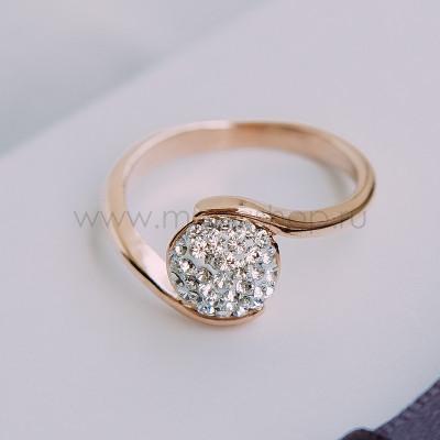 Кольцо Стелла с белыми кристаллами Сваровски