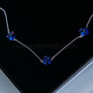 Колье «Миражи» с синими кристаллами-хамелеонами Swarovski