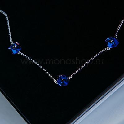 Колье Миражи с синими кристаллами-хамелеонами Swarovski