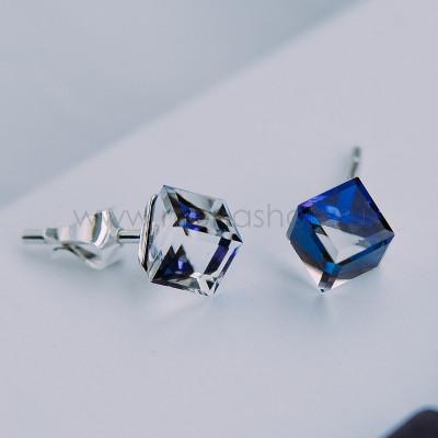 Серьги-гвоздики Миражи с синими кристаллами Swarovski
