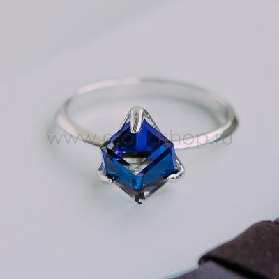 Кольцо Миражи тонкое с синим кристаллом Swarovski