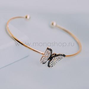 Браслет «Бархатница» разомкнутый с бабочкой