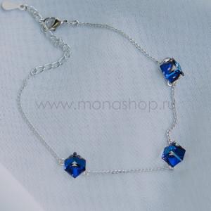 Браслет «Миражи» с синими кристаллами-хамелеонами Swarovski