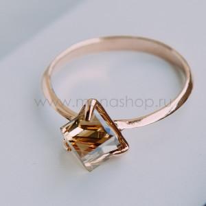 Кольцо «Миражи» тонкое с кристаллом Swarovski цвета шампань