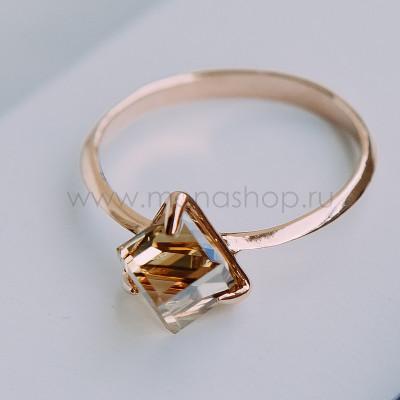 Кольцо Миражи тонкое с кристаллом Swarovski цвета шампань