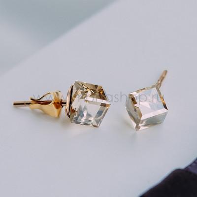 Серьги-гвоздики «Миражи» с кристаллами Swarovski цвета шампань