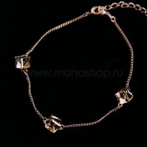 Браслет «Миражи» с кристаллами Swarovski цвета шампань