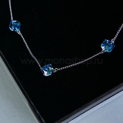 Колье Миражи с голубыми кристаллами Swarovski