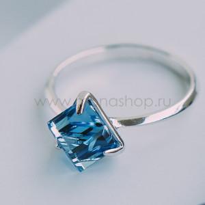 Кольцо «Миражи» тонкое с голубым кристаллом Swarovski