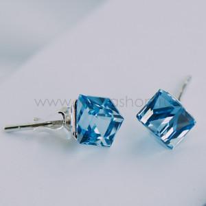 Серьги-гвоздики «Миражи» с голубыми кристаллами Swarovski