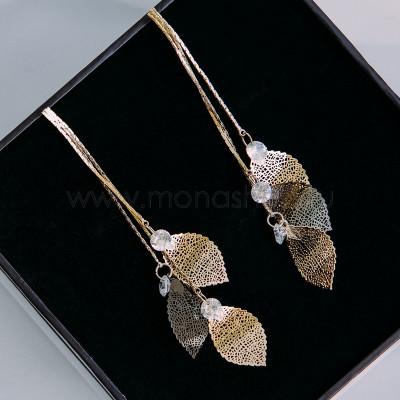 Серьги-подвески «Хрупкие листья» с белыми фианитами