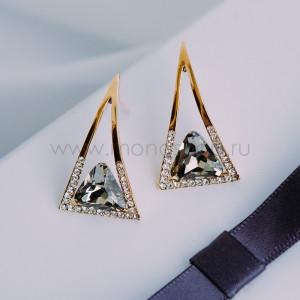 Серьги-треугольники «Клеопатра» с серыми кристаллами Сваровски