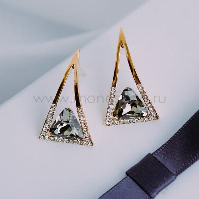 Серьги-треугольники Клеопатра с серыми кристаллами Сваровски