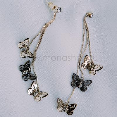 Серьги-подвески Летящие бабочки с серыми фианитами