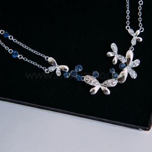 Колье «Танец бабочек» с синими кристаллами Сваровски