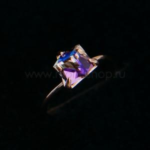 Кольцо «Миражи» тонкое с фиолетовым кристаллом Swarovski