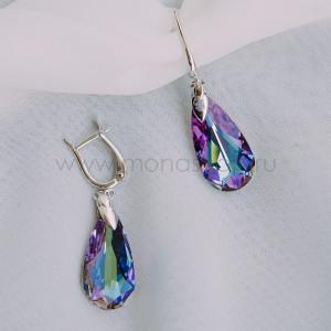 Серьги Хамелеон с фиолетовыми камнями Сваровски