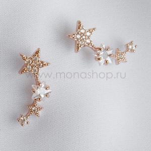 Серьги Звездопад с белыми фианитами