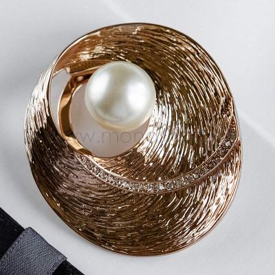 Брошь-зажим Золотые дюны с белой жемчужиной