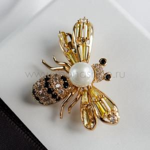 Брошь Пчелка с австрийскими кристаллами