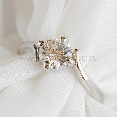 Кольцо Помолвочное с круглым камнем, покрытие-родий